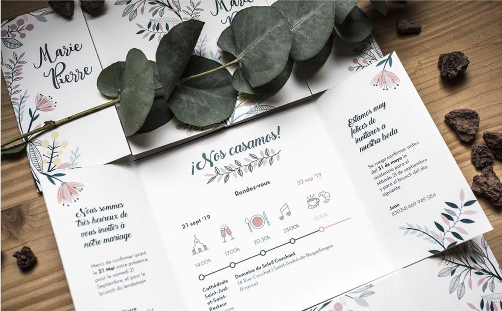 Invitación de boda colección floral